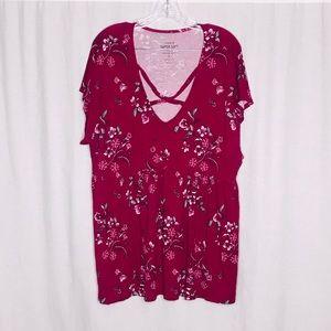 Torrid Pink Floral Super Soft Knits Top 3 3X